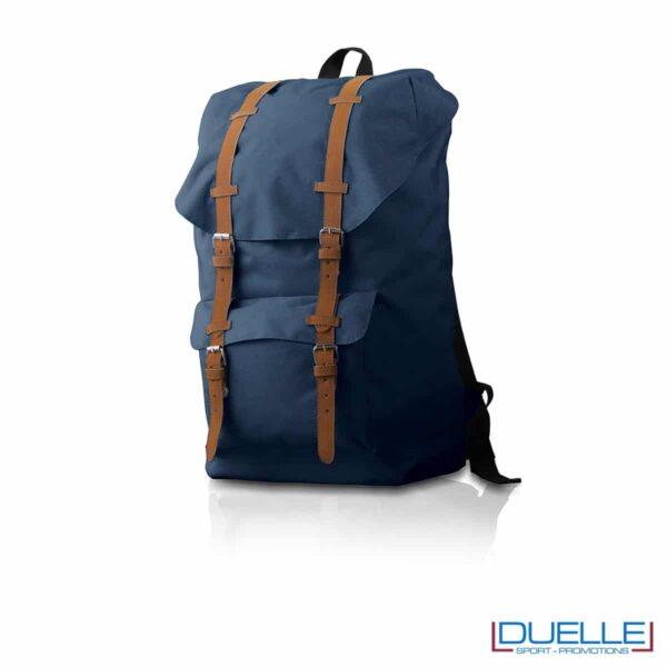 Zaino personalizzato in colore blu particolare in cuoio, zaino promozionale Hipster blu