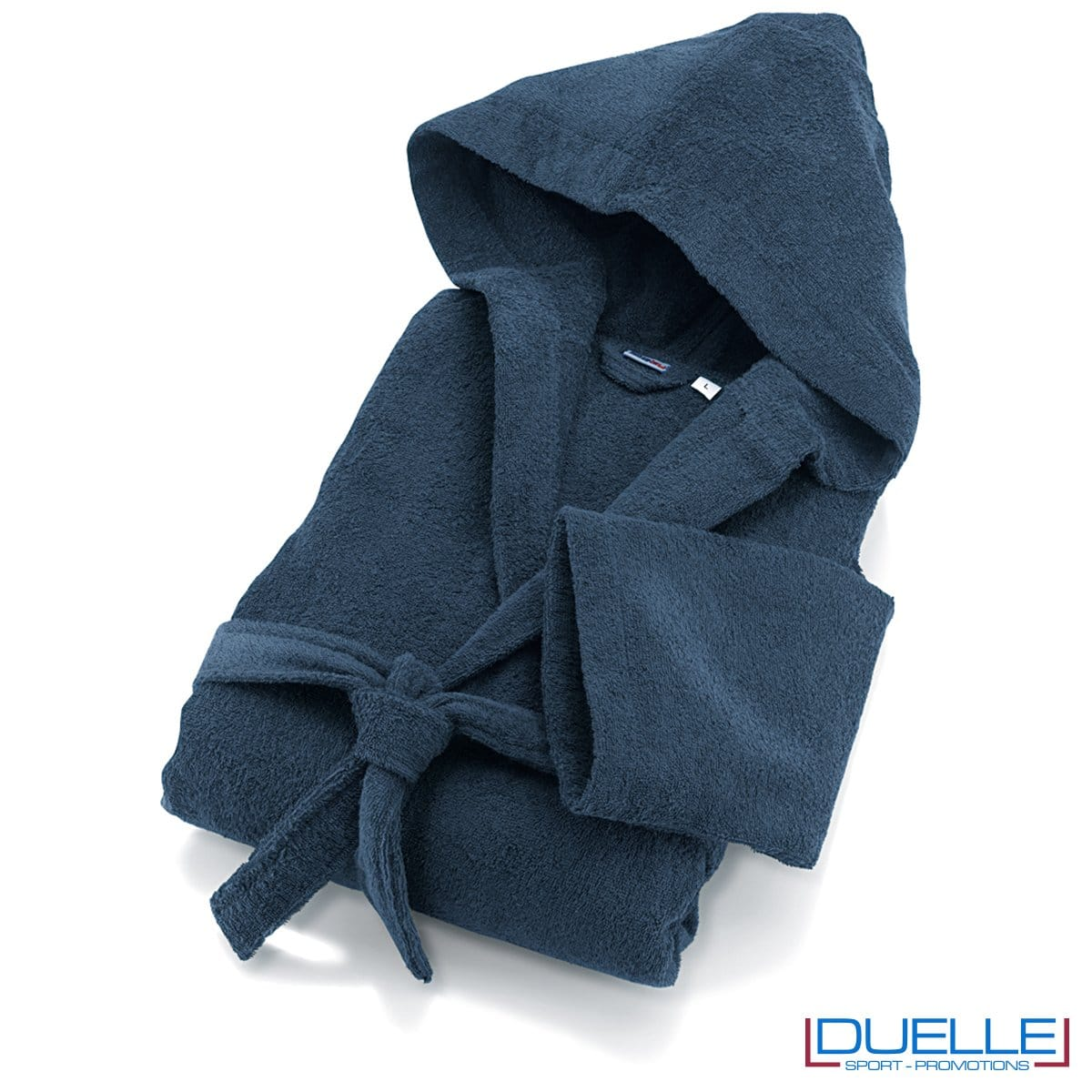 accappatoio in spugna colore blu personalizzato