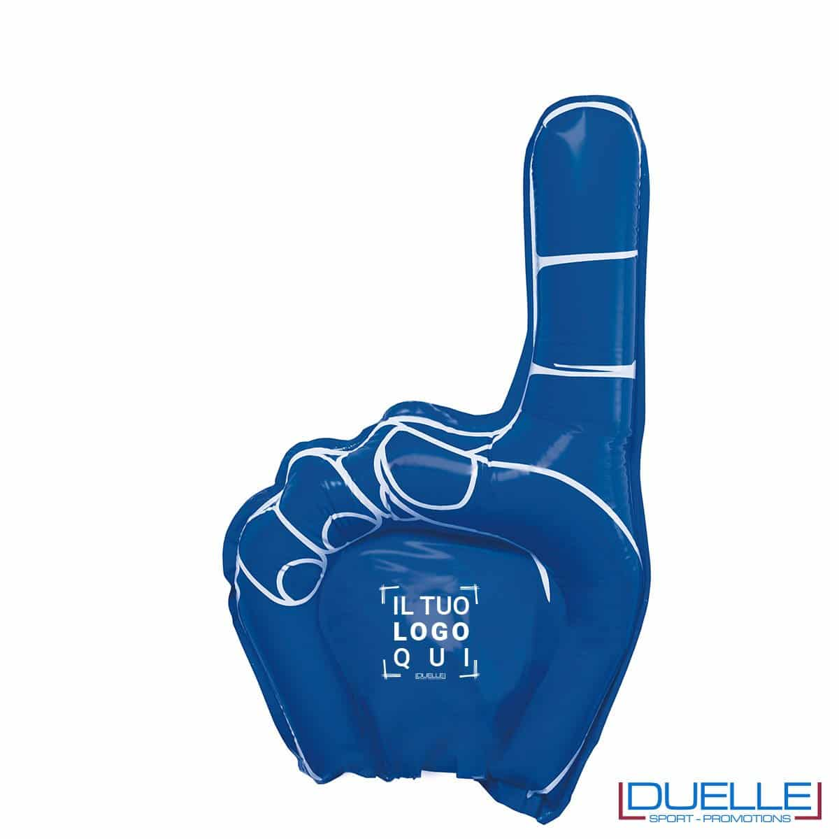 mano gonfiabile personalizzata gigante BLU. Gadget sport personalizzato