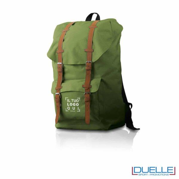 Zaino personalizzato in colore verde particolare in cuoio, zaino promozionale Hipster verde