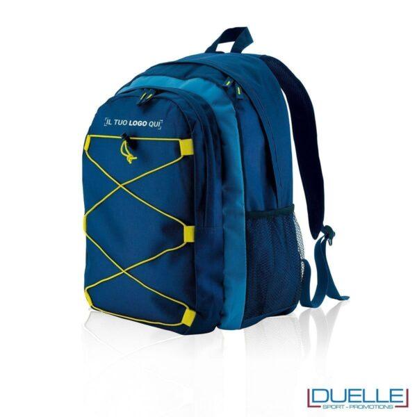 zaino montagna personalizzato in colore blu con elastici