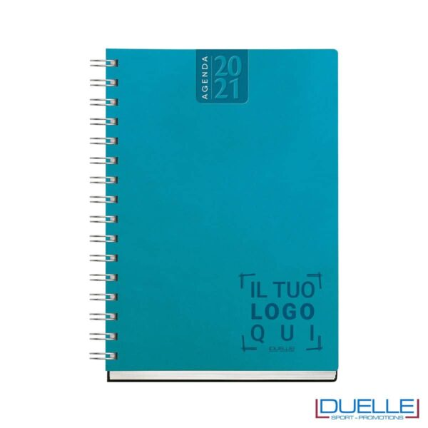Agenda giornaliera con spirale personalizzata colore azzurro