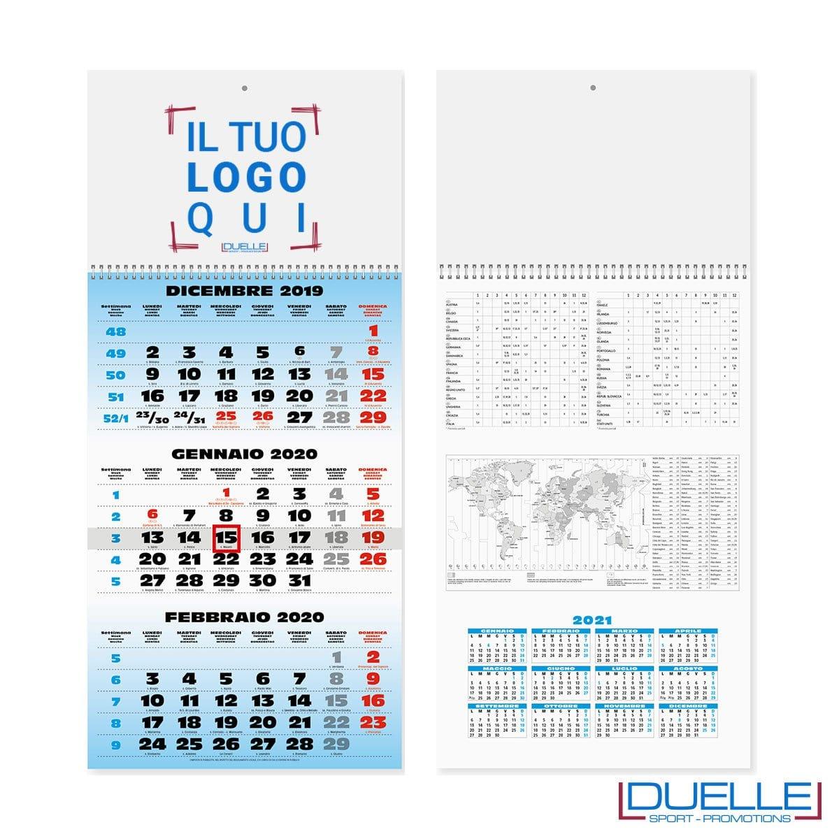 Calendario trimestrale personalizzato 2021 con stampa a colori