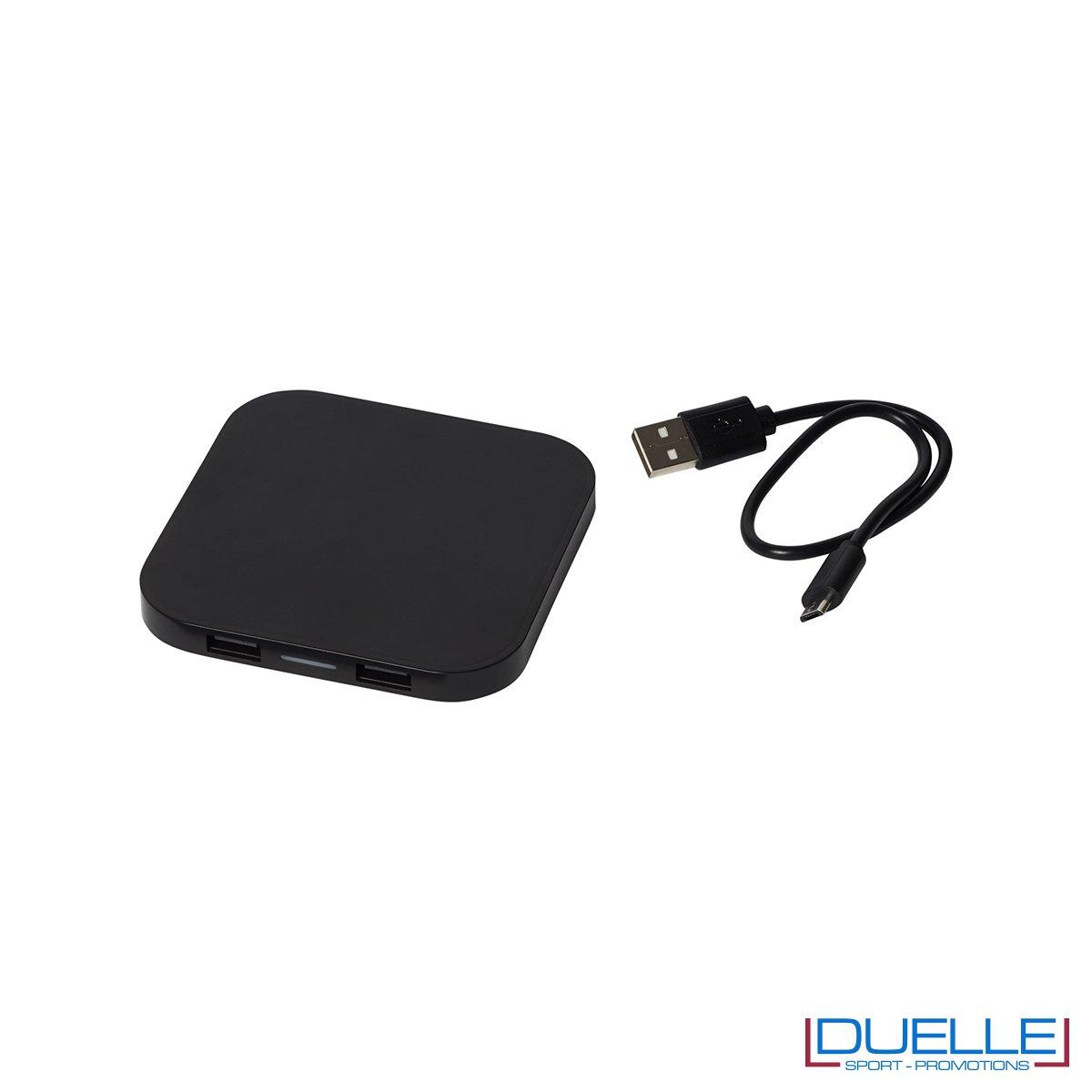 Caricatore wireless promozionale pesonalizzabile con stampe colore nero