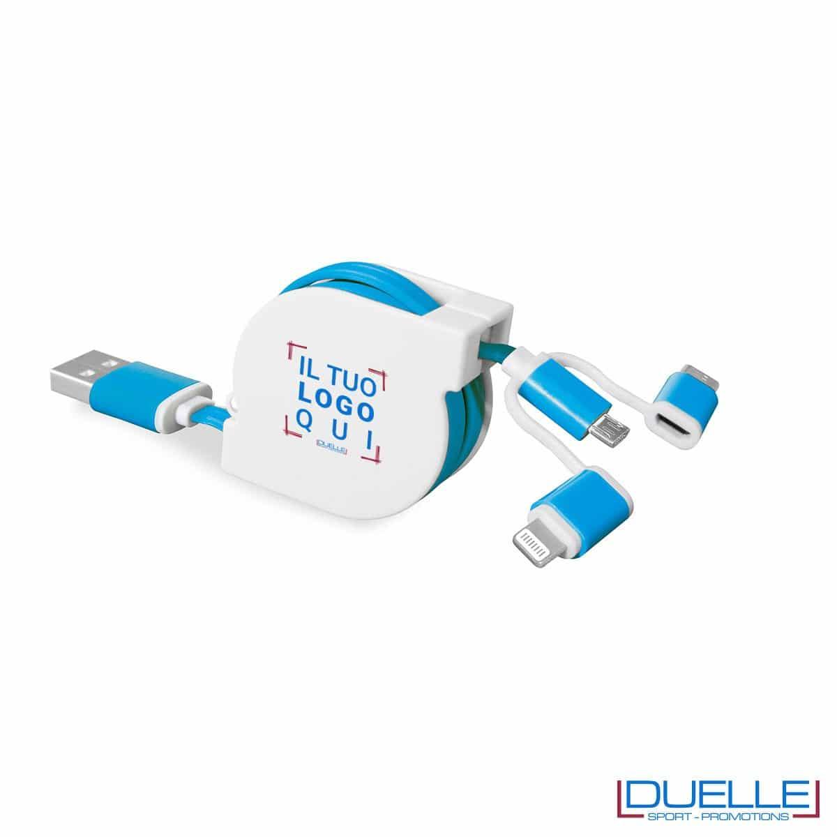 Cavo adattatore 3 in 1 colore azzurro personalizzato con stampe colorate