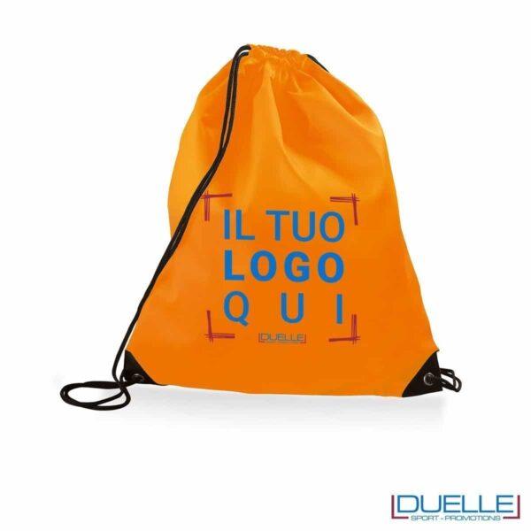 Zainetto sportivo impermeabile personalizzato in nylon arancione fluo
