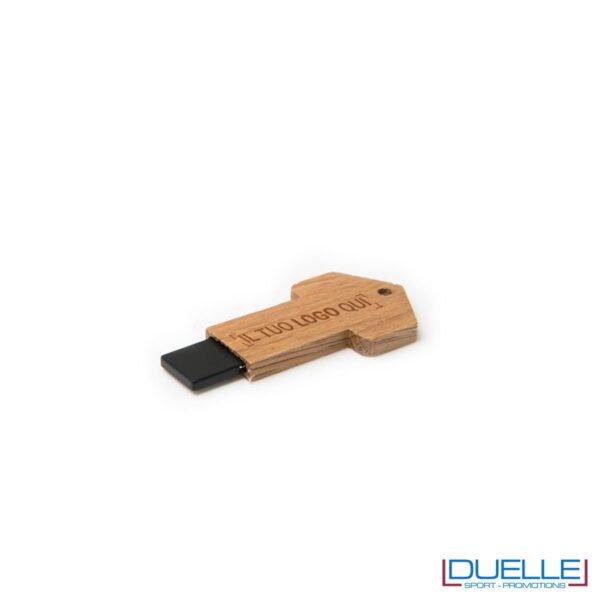 Chiavetta USB ecologica personalizzata in legno con stampa colori o incisione