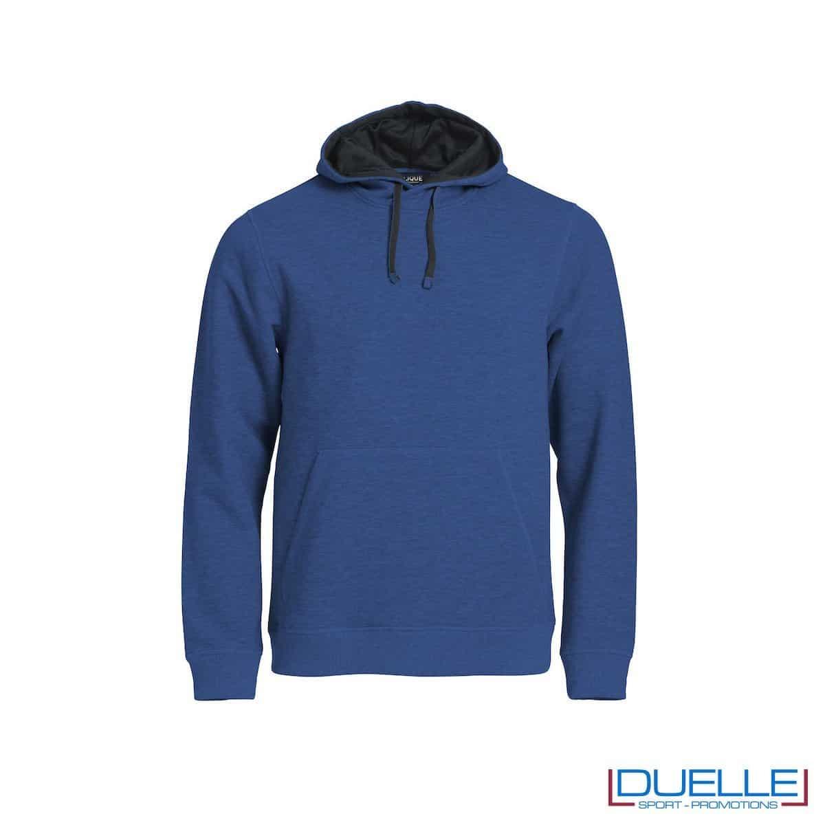 Felpa con cappuccio foderato e marsupio personalizzata colore blu melange