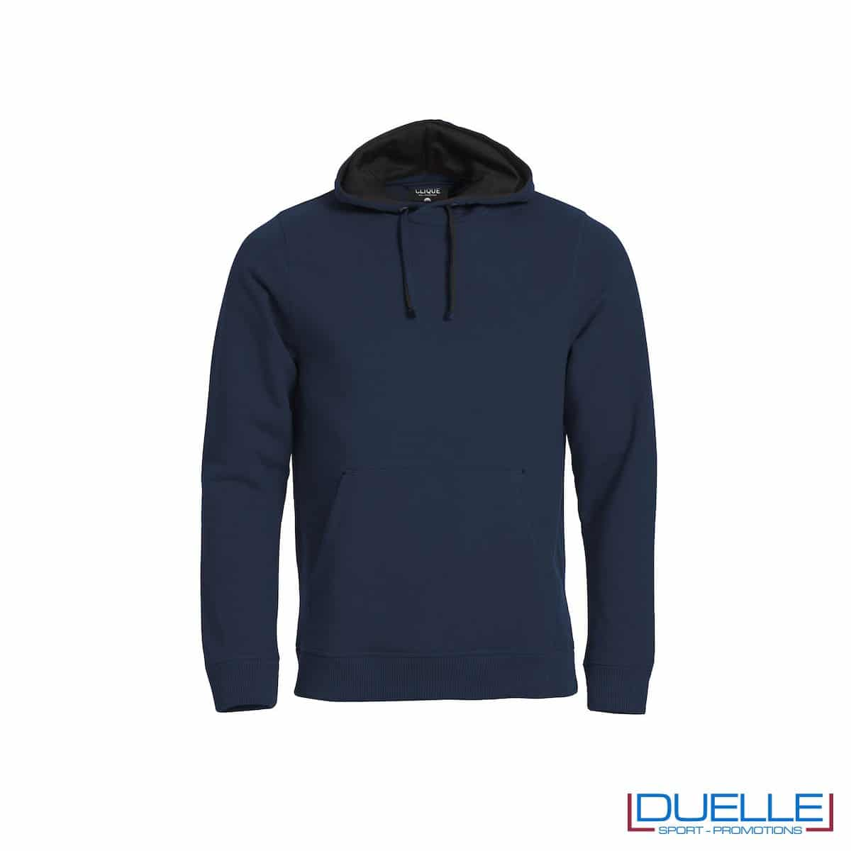 Felpa con cappuccio foderato e marsupio personalizzata colore blu navy