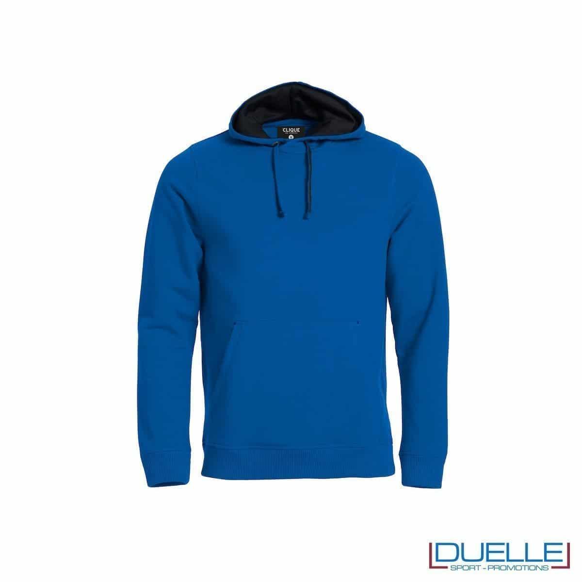 Felpa con cappuccio foderato e marsupio personalizzata colore blu royal