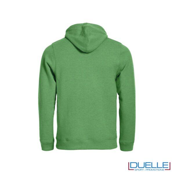 felpa personalizzata in colore verde melange con cappuccio foderato