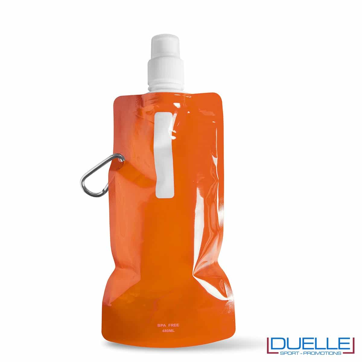 Borraccia personalizzata pieghevole con moschettone colore arancione
