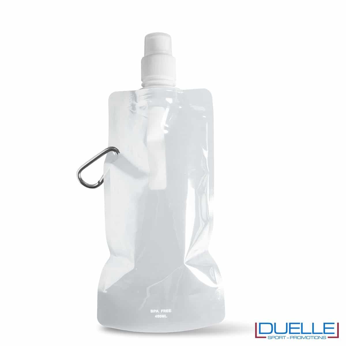 Borraccia personalizzata pieghevole con moschettone colore bianco
