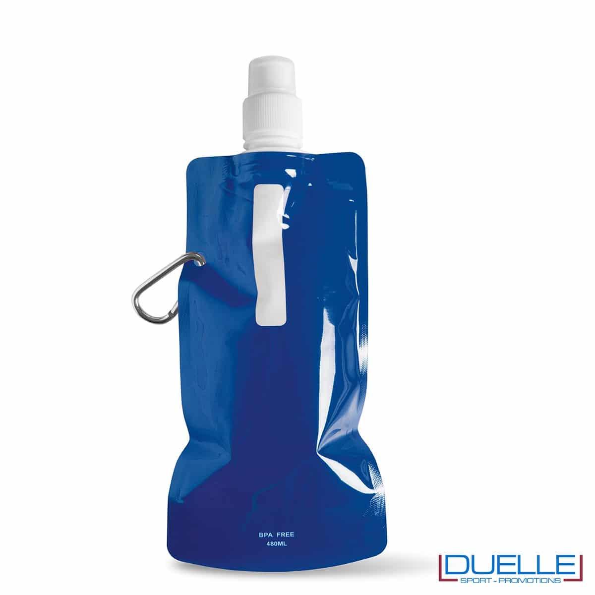 Borraccia personalizzata pieghevole con moschettone colore blu