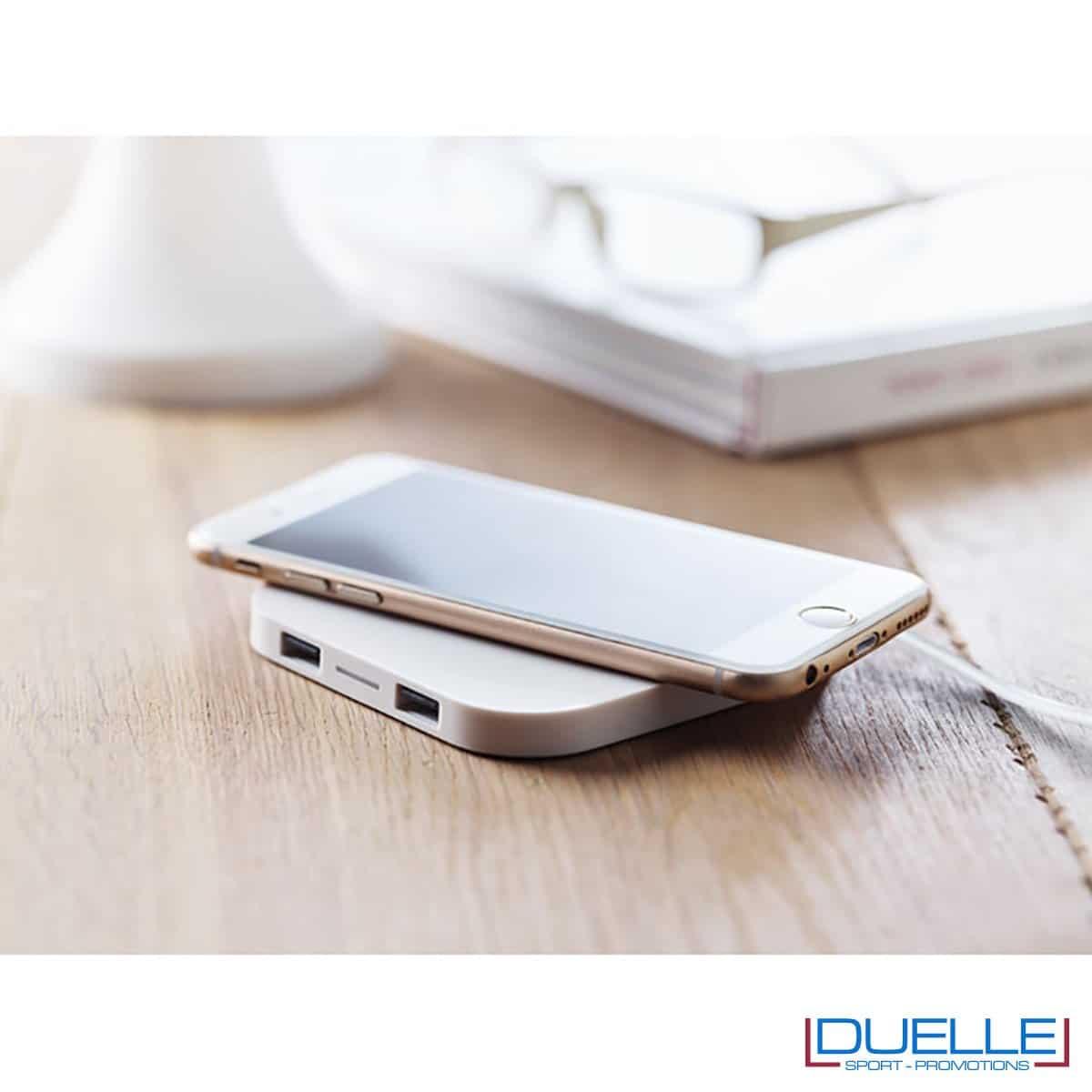 Pratica base di ricarica personalizzata wireless per smartphone colore bianco
