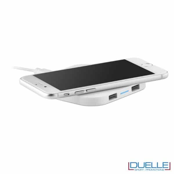 Base di ricarica wireless personalizzata per smartphone colore bianco