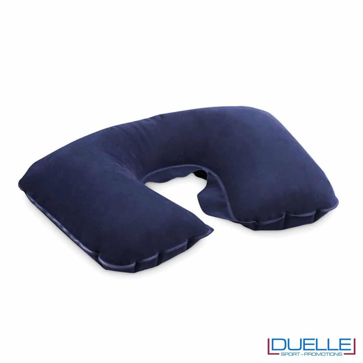 Cuscino viaggio con busta in velluto colore blu