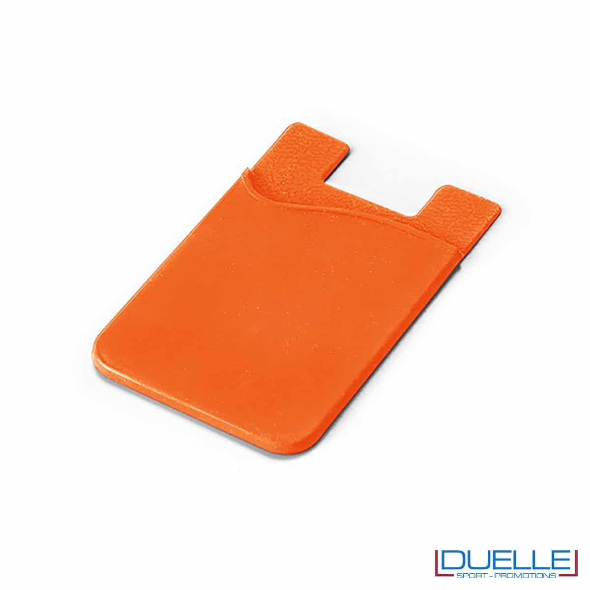 Porta biglietti da visita personalizzato in silicone colore arancione