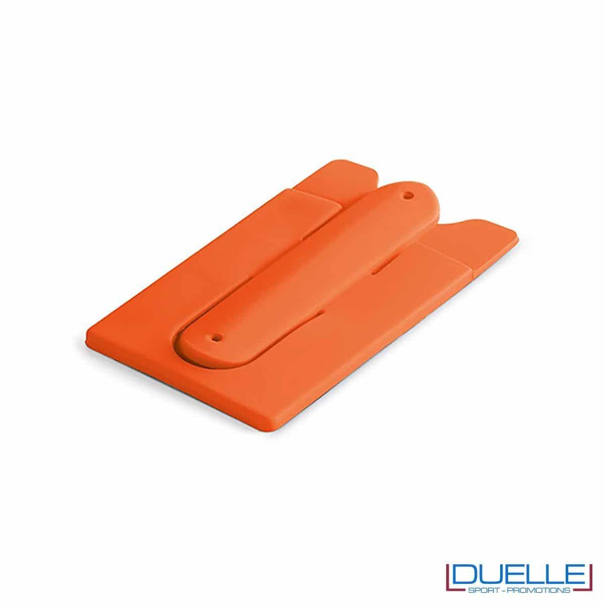 Porta biglietti in silicone con supporto per smartphone personalizzato colore arancione