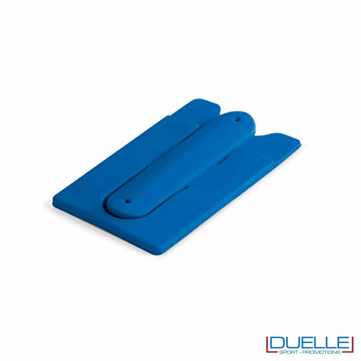 Porta biglietti in silicone con supporto per smartphone personalizzato colore blu