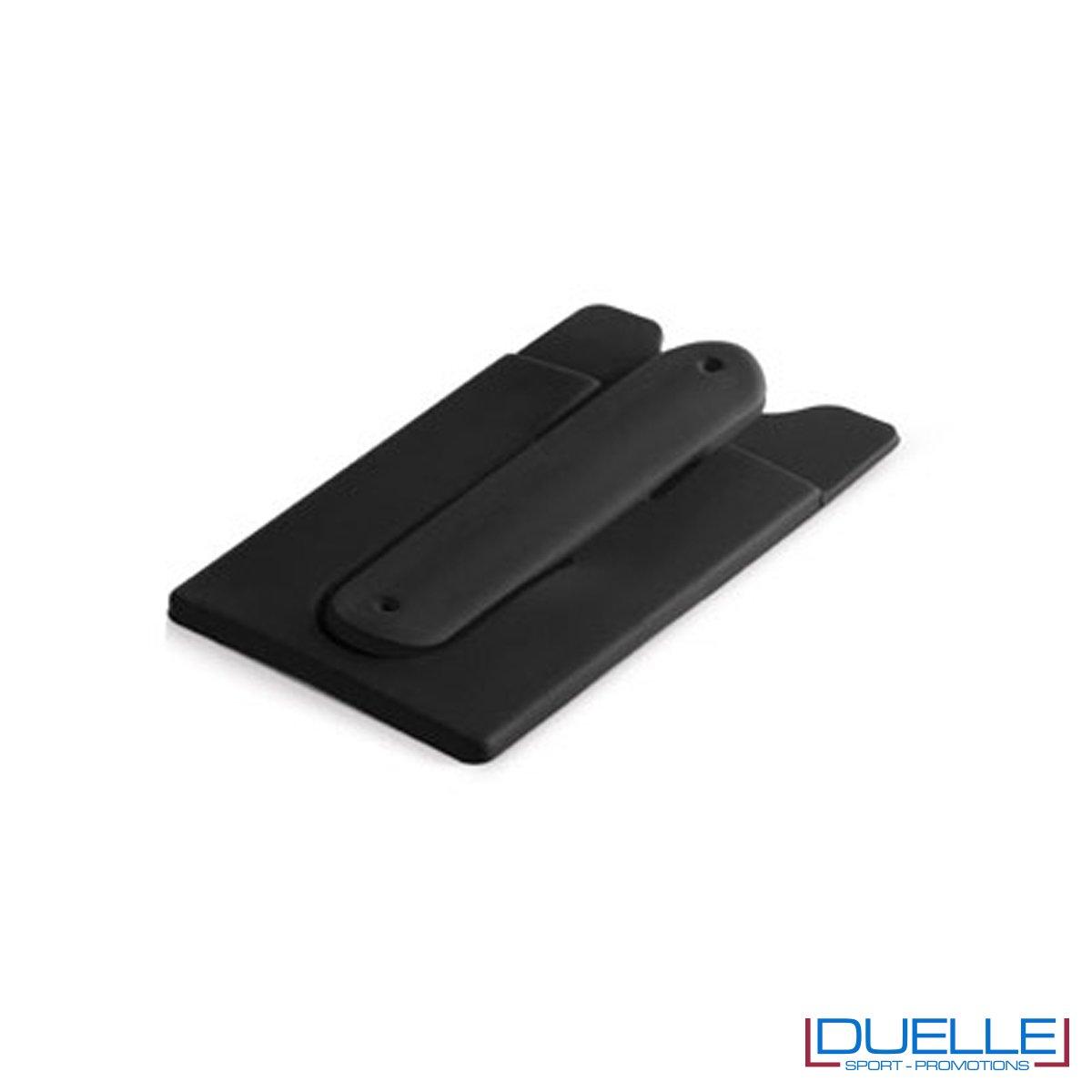 Porta biglietti in silicone con supporto per smartphone personalizzato colore nero