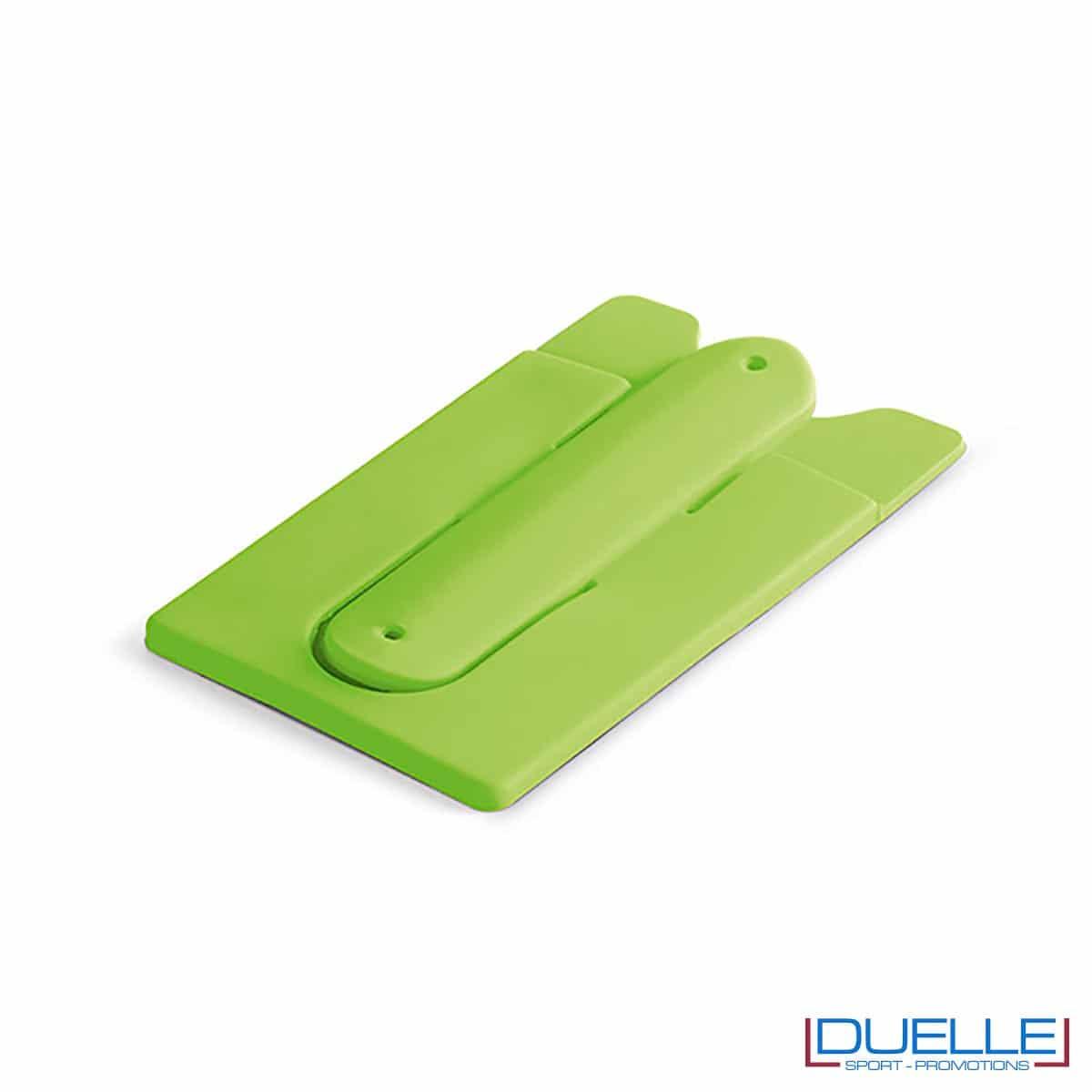 Porta biglietti in silicone con supporto per smartphone personalizzato colore verde