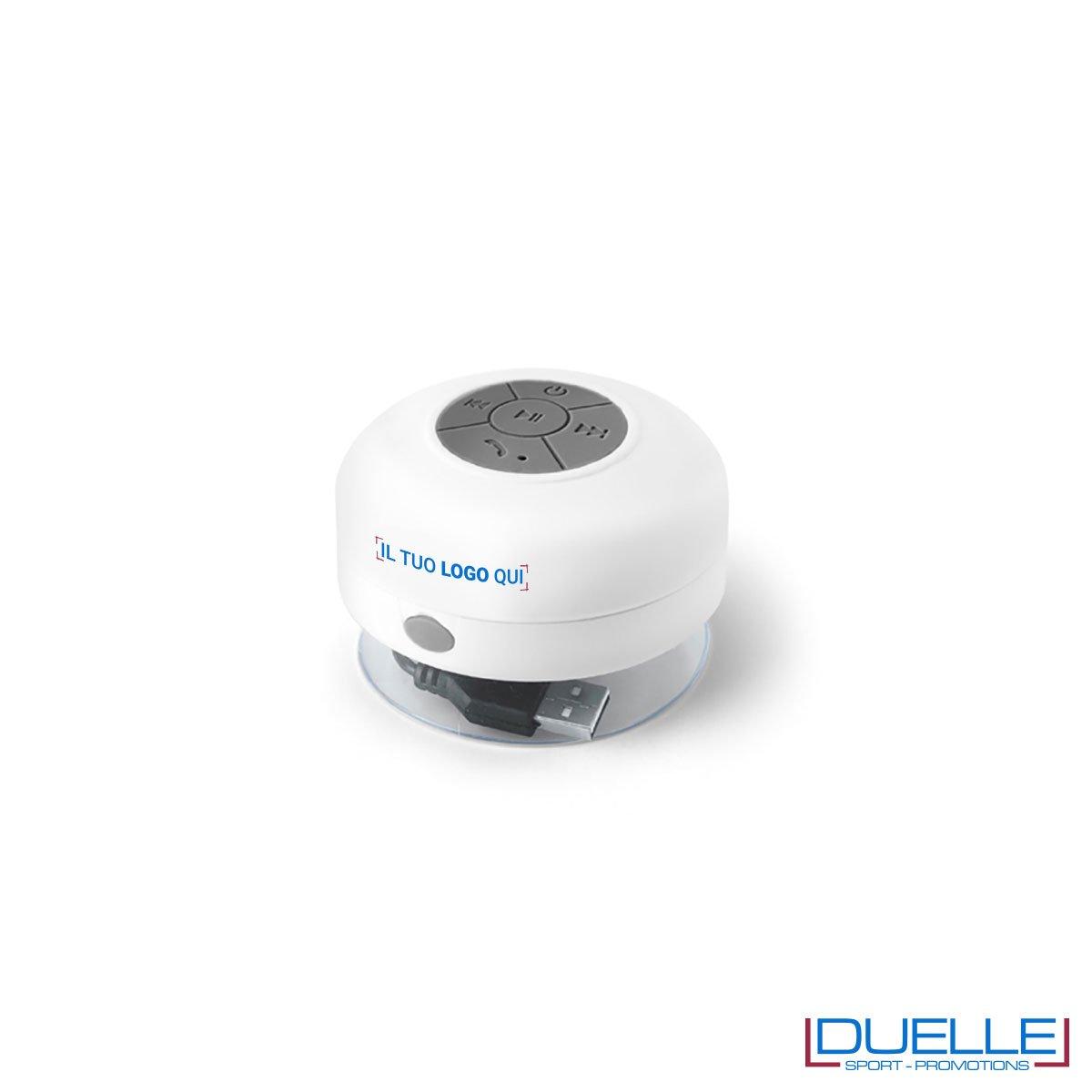 Altoparlante bluetooth personalizzato waterproof colore bianco