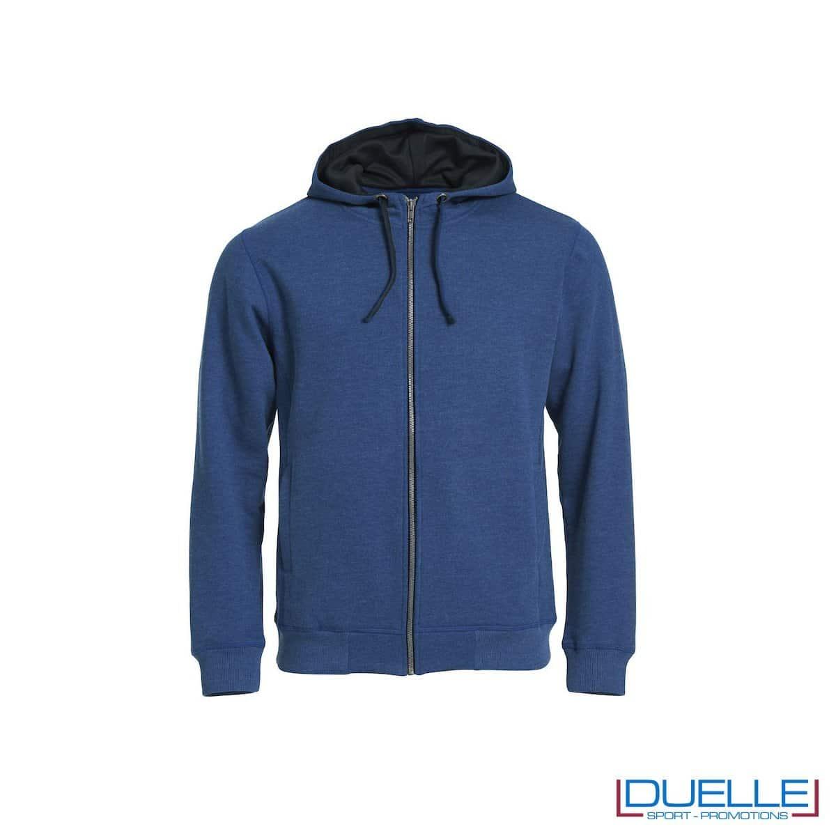 Felpa con cappuccio e full zip personalizzata colore blu melange