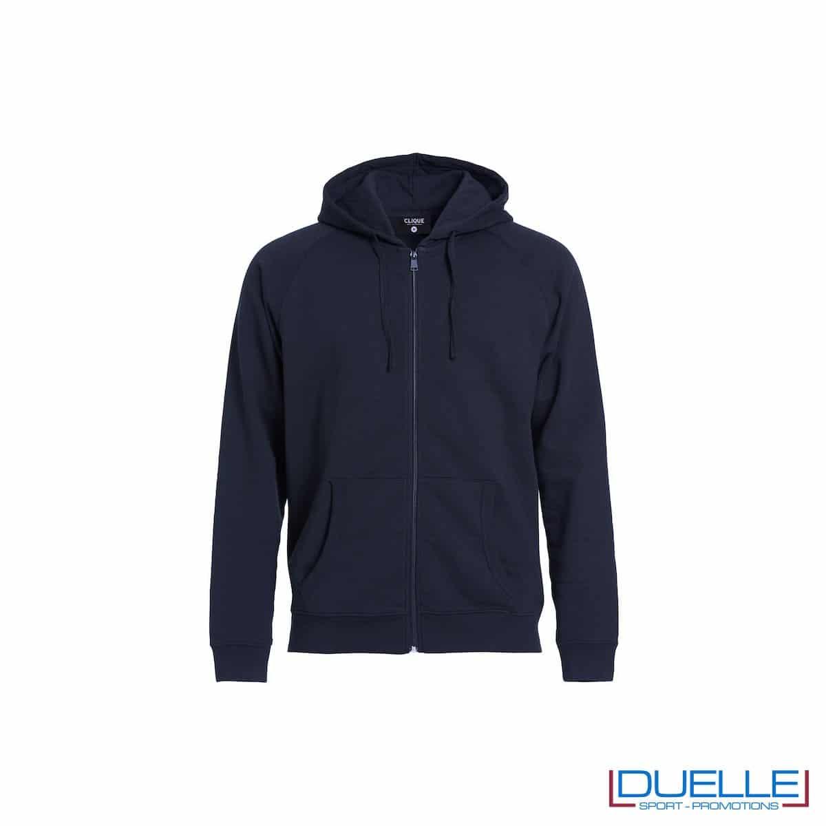 Felpa con cappuccio e full zip personalizzata colore blu navy