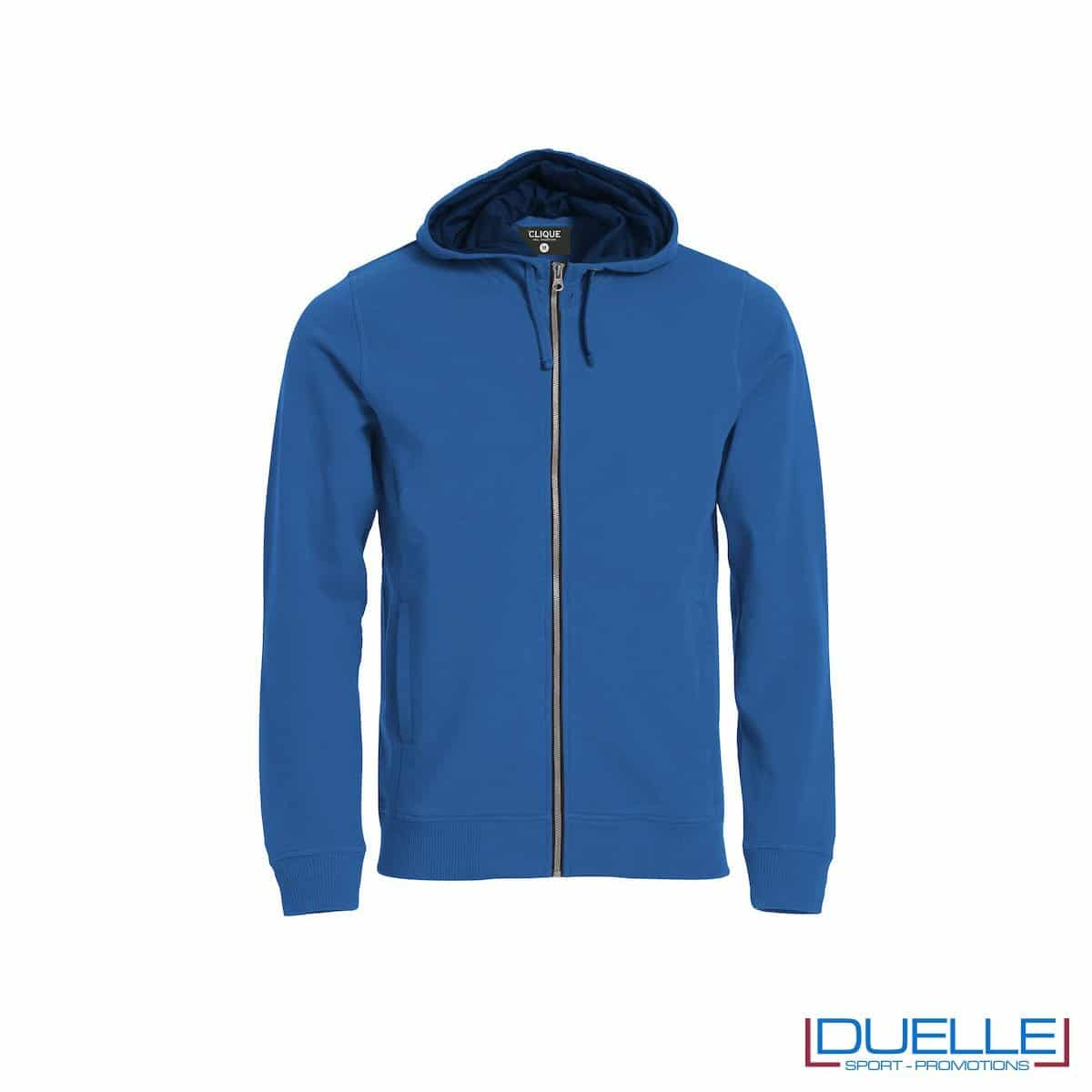 Felpa con cappuccio e full zip personalizzata colore blu royal
