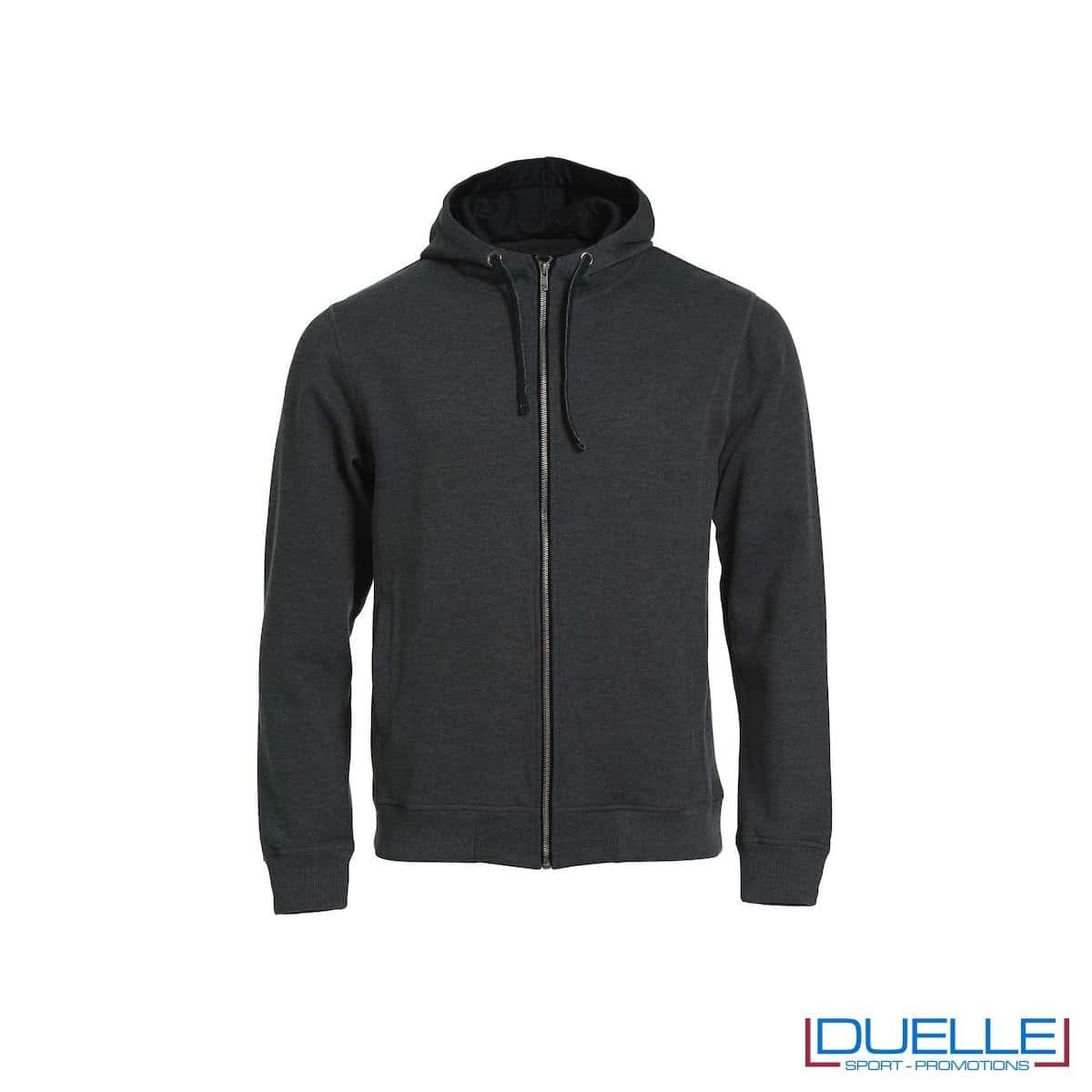 Felpa con cappuccio e full zip personalizzata colore grigio antracite melange