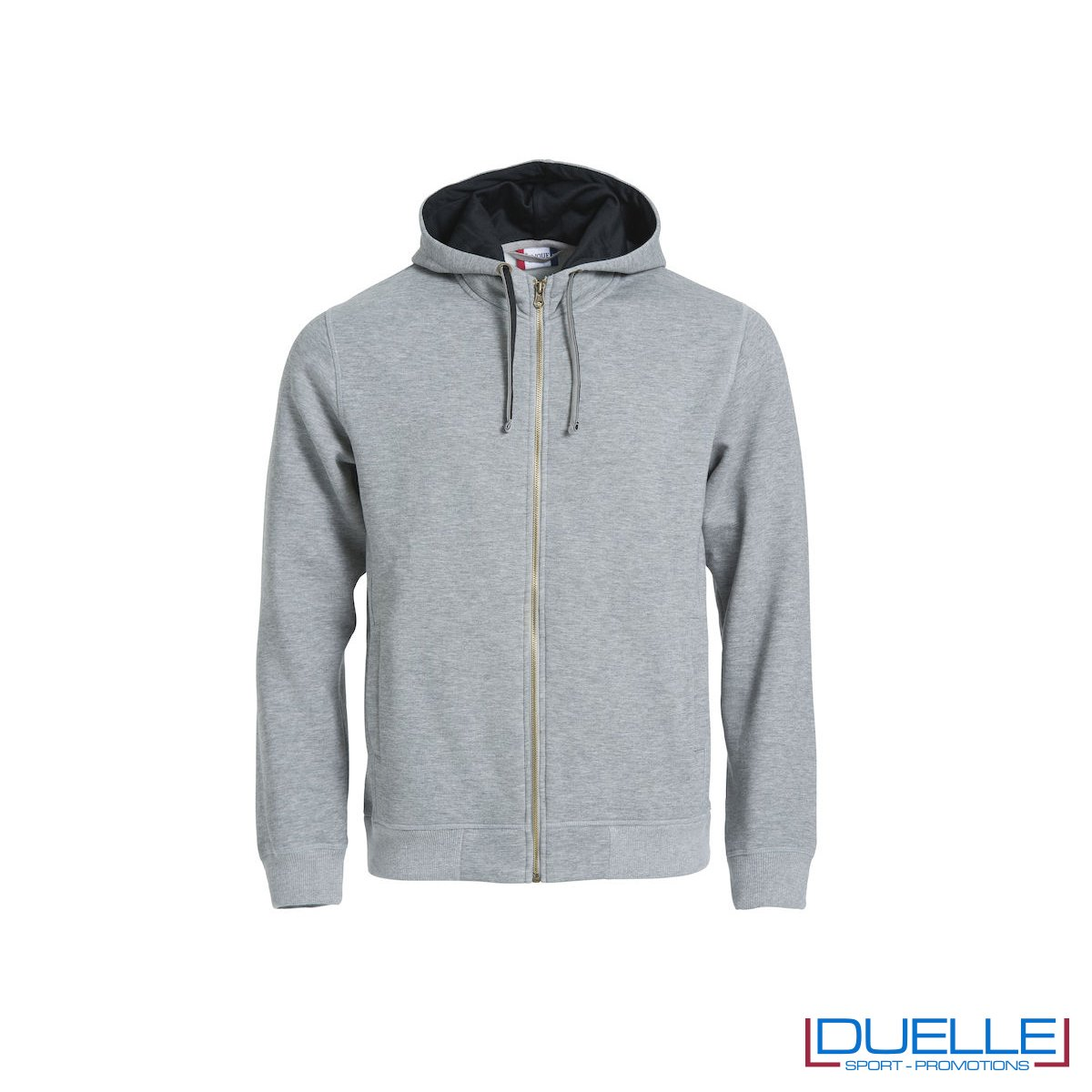 Felpa con cappuccio e full zip personalizzata colore grigio melange
