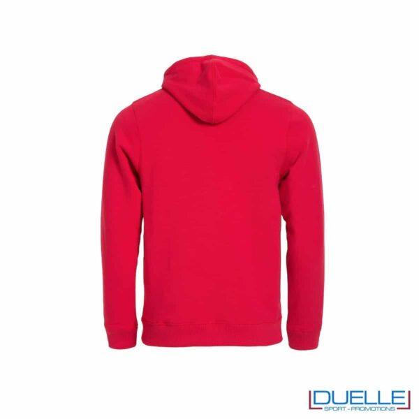 felpa personalizzata full zip con cappuccio foderato mesh in colore rosso