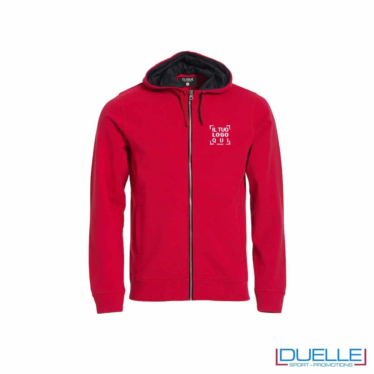Felpa con cappuccio e full zip personalizzata colore rosso