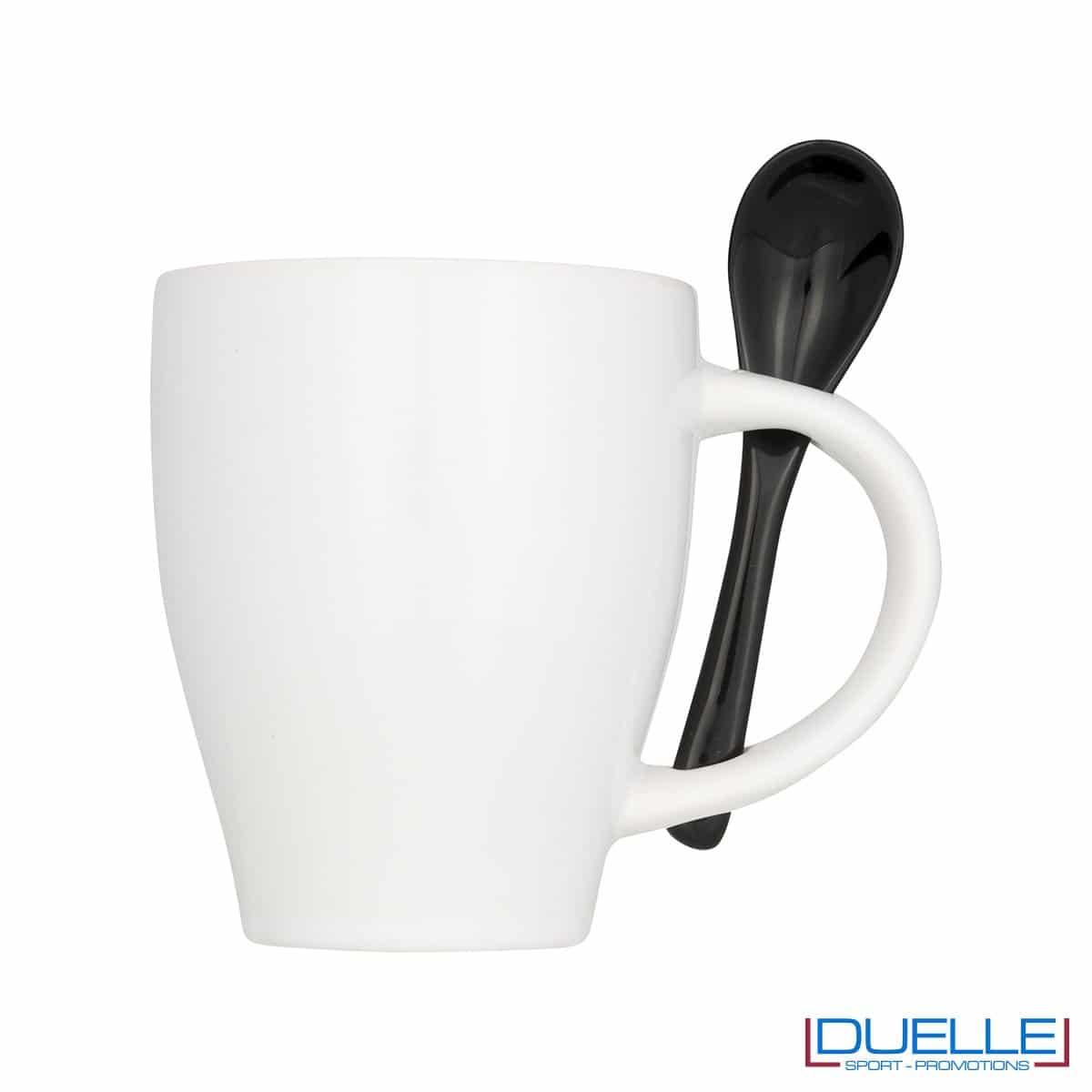 Tazza mug personalizzata con cucchiaino colore nero