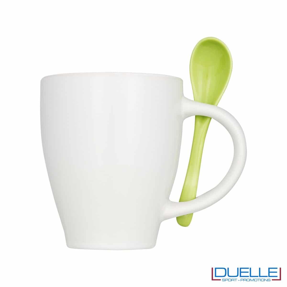 Tazza mug personalizzata con cucchiaino colore verde