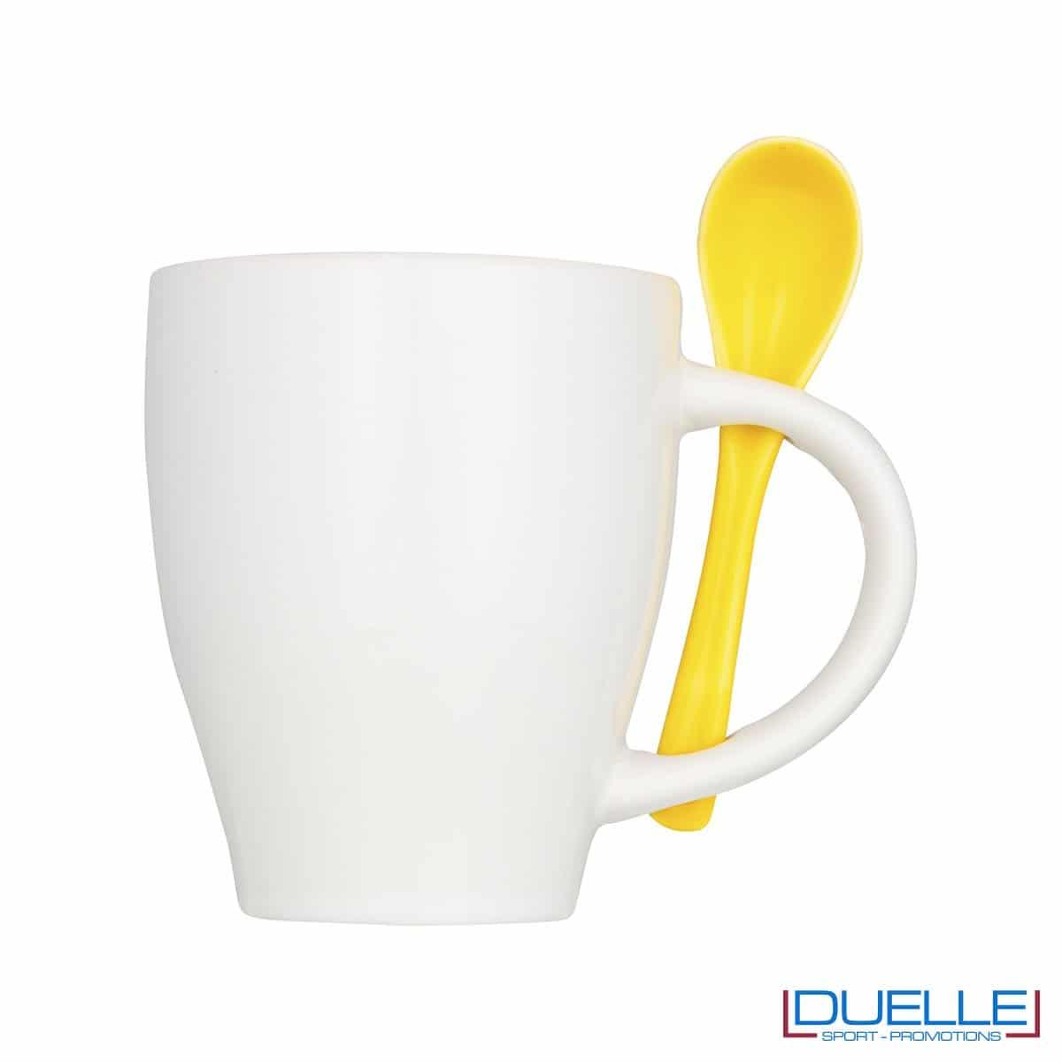 Tazza mug personalizzata con cucchiaino colore giallo