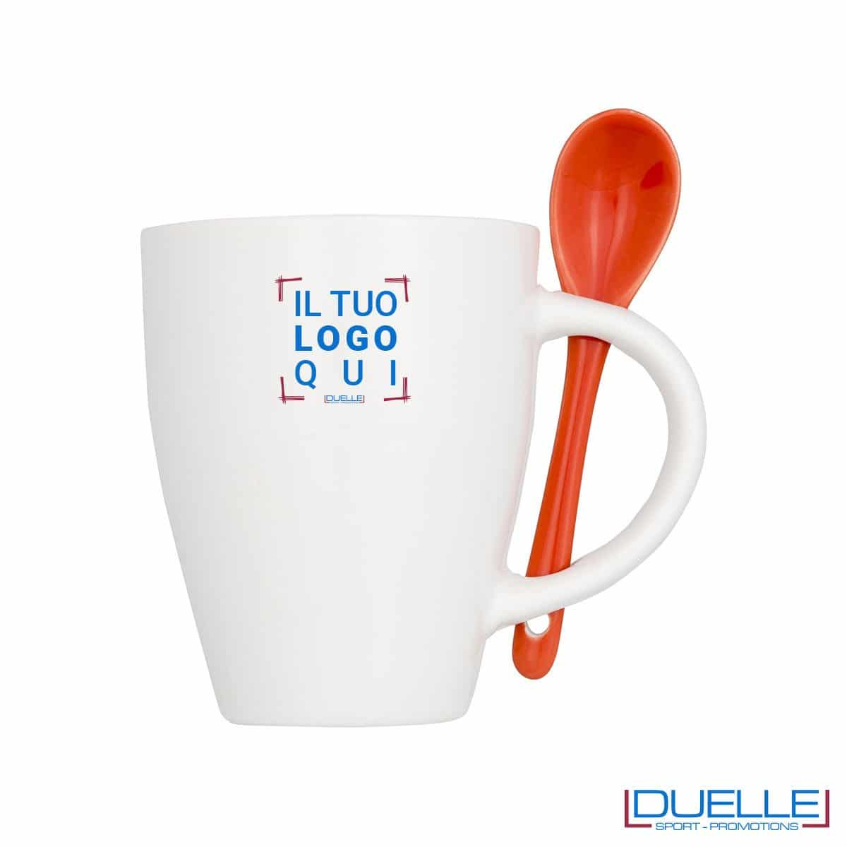 Tazza mug personalizzata con cucchiaino colore rosso