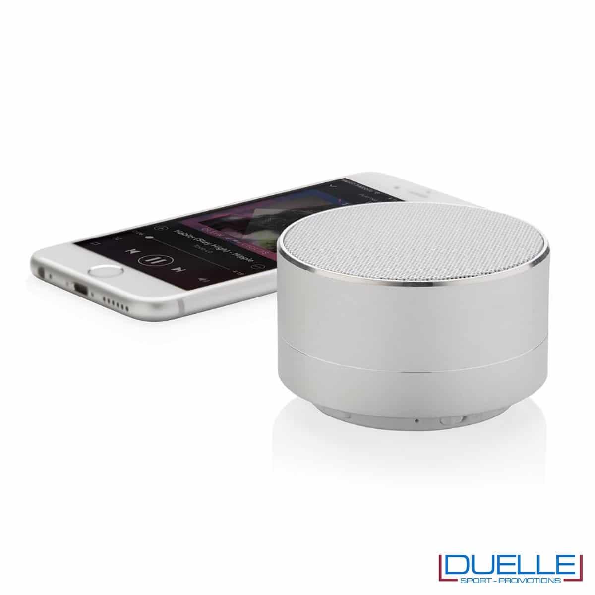 Speaker wireless personalizzato in alluminio colore argento
