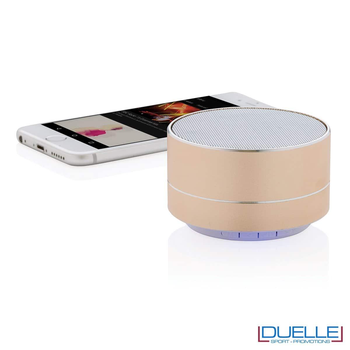 Speaker wireless personalizzato in alluminio colore oro