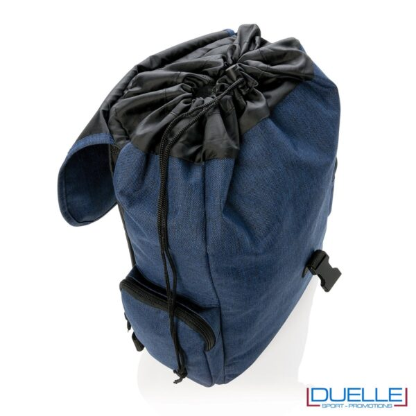 Zaino porta pc 15'' personalizzato con stampa o ricamo colore blu chiusura a strozzo