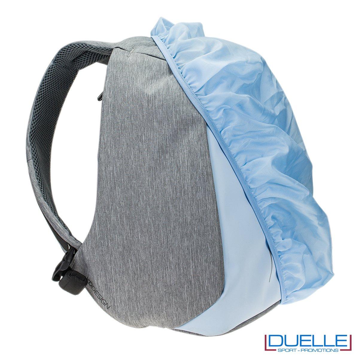 Guaina antipioggia per zaino anti taccheggio personalizzato colore azzurro