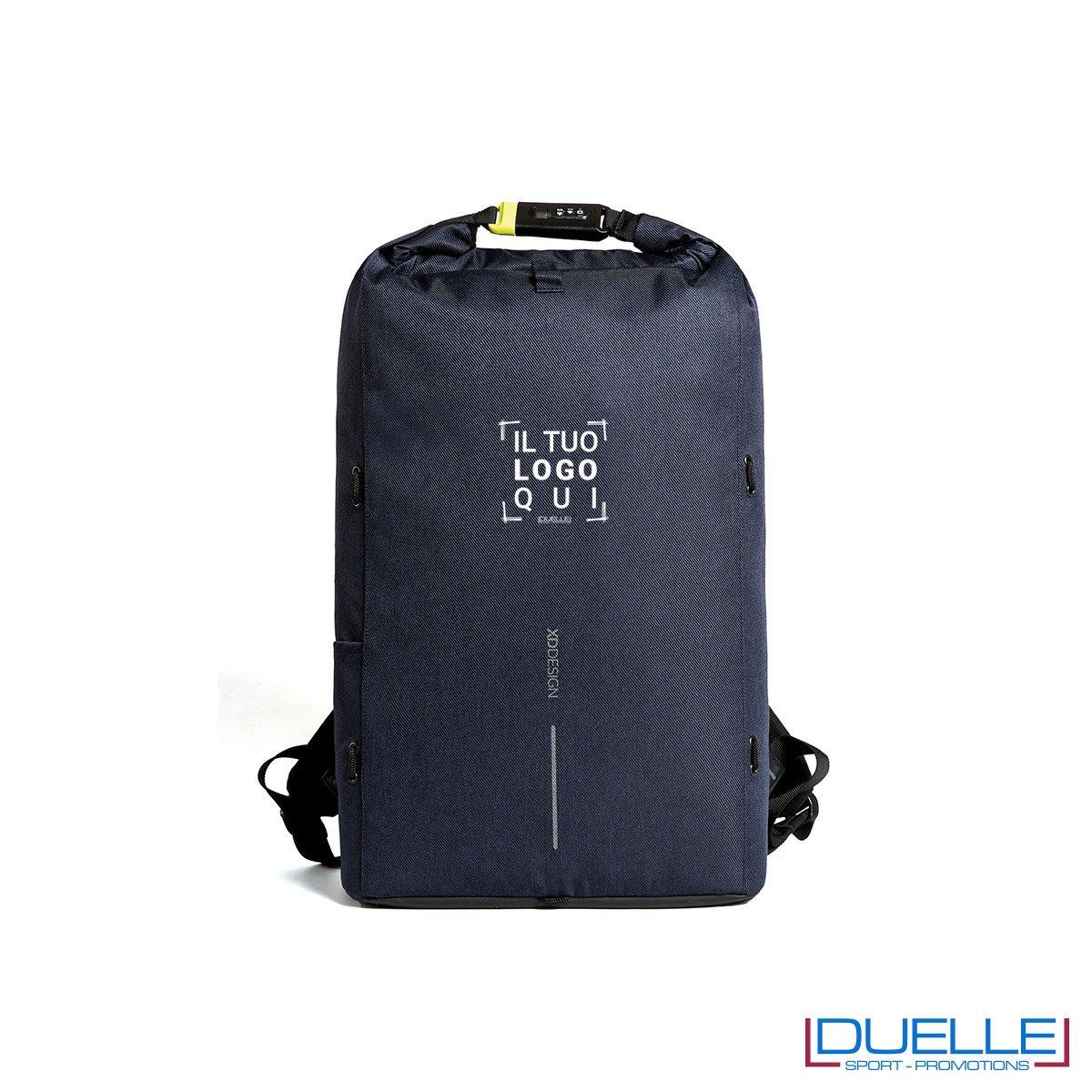Zaino anti taccheggio personalizzato colore blu chiusura con lucchetto