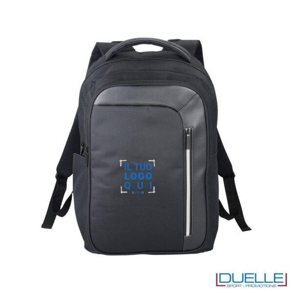 Zaino porta laptop personalizzato con protezione rfid colore nero