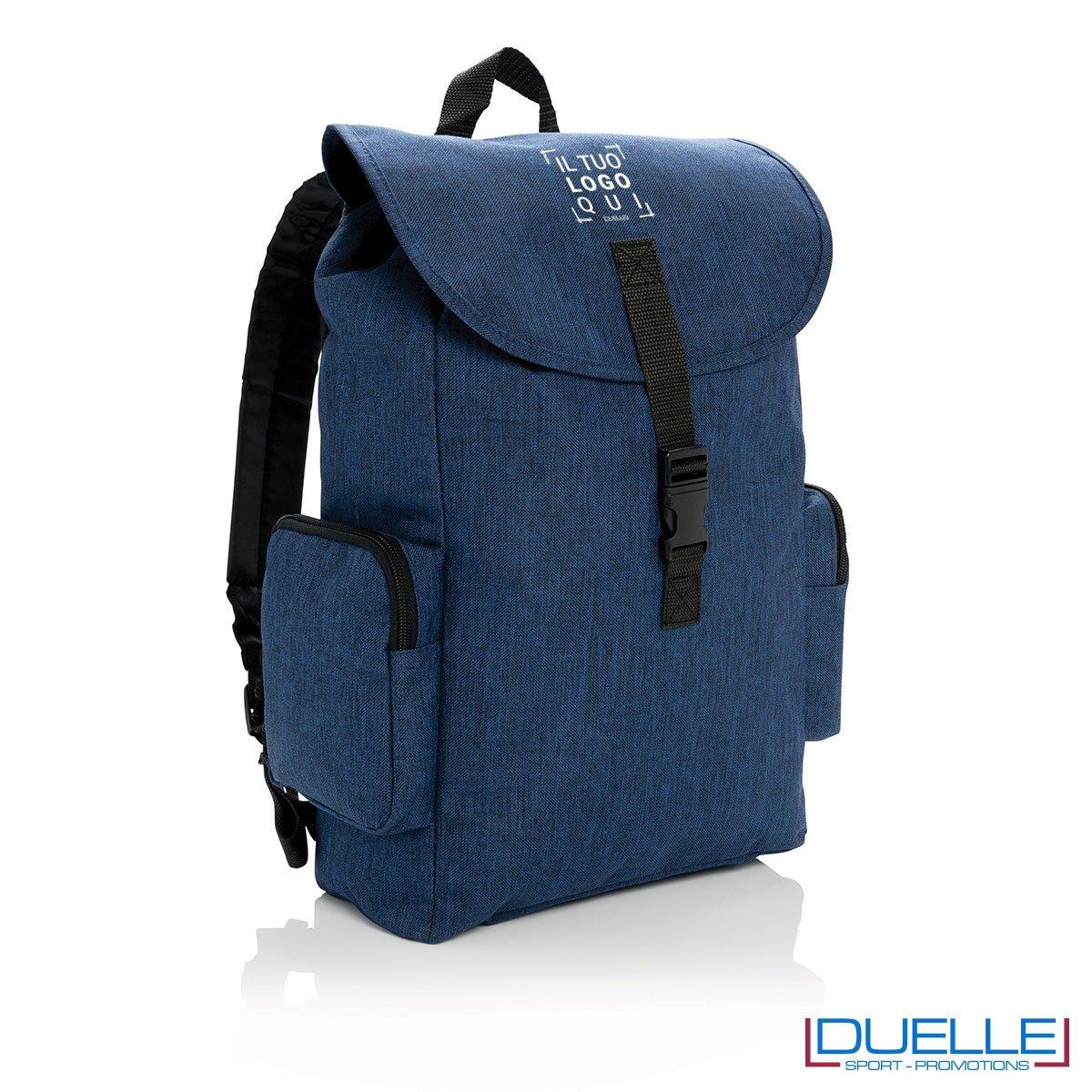 Zaino porta pc 15'' personalizzato con stampa o ricamo colore blu