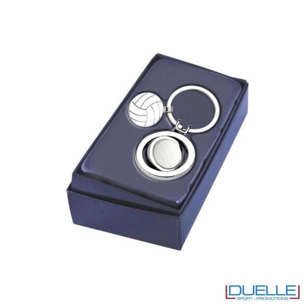 Portachiavi pallavolo in metallo personalizzato con confezione