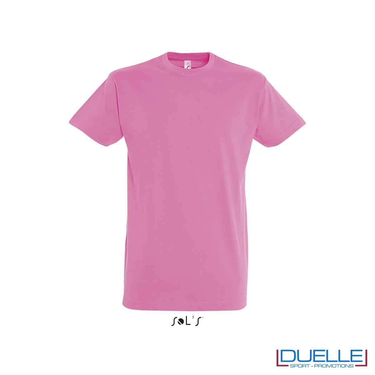 T-shirt promozionale in cotone pesante colore rosa orchidea personalizzata con stampa o ricamo