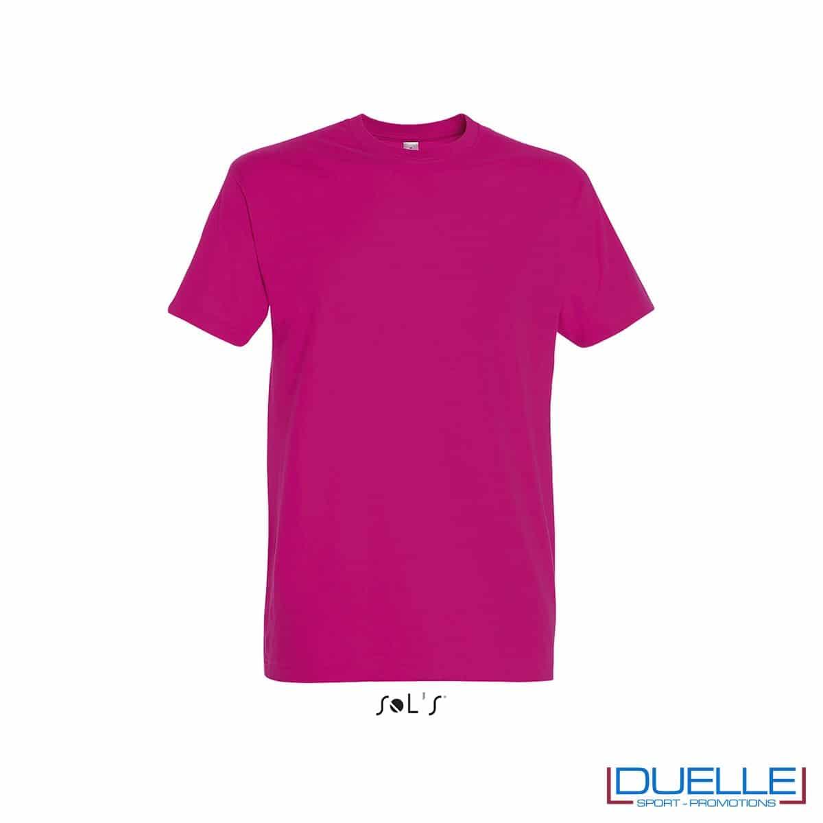 Tshirt promozionale in cotone pesante colore fucsia personalizzata con stampa o ricamo