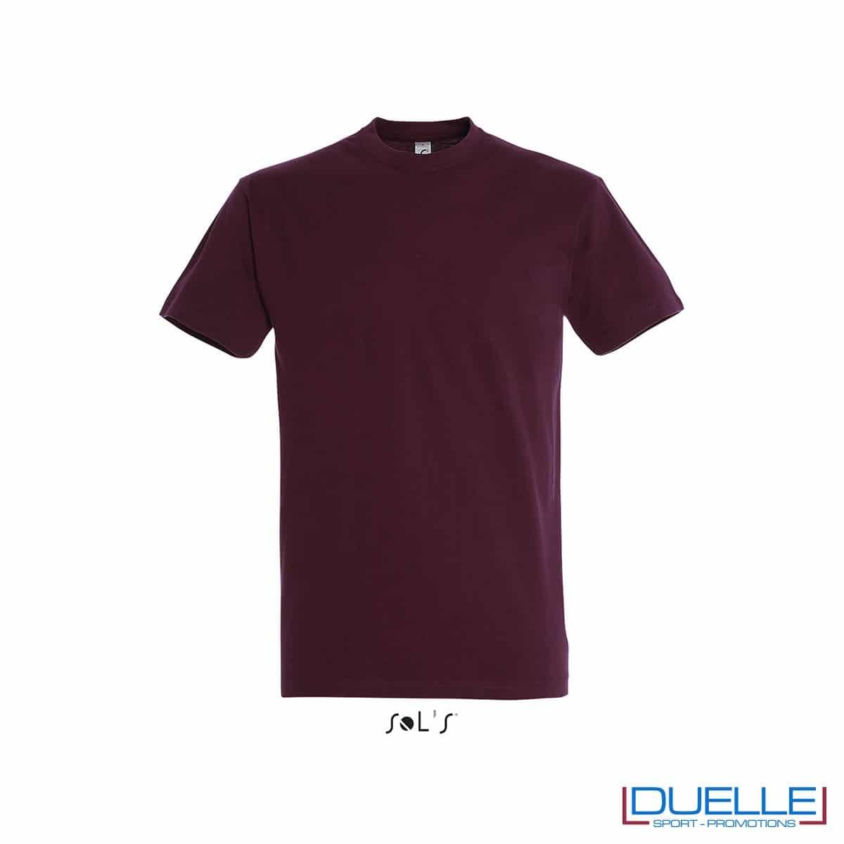 Maglietta promozionale in cotone pesante ROSSO BORDEAUX personalizzata con stampa o ricamo