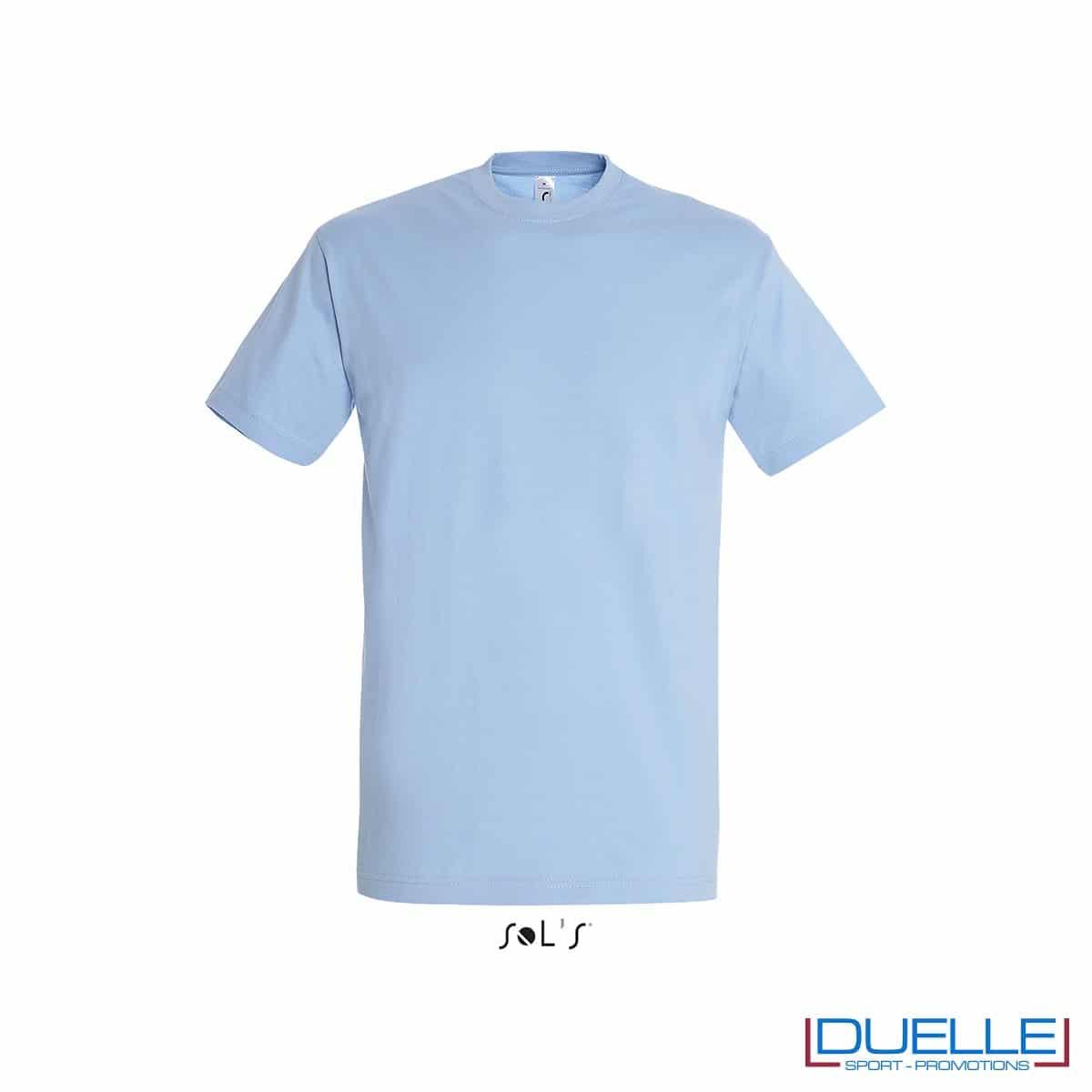 Maglietta mezza maniche girocollo in cotone pesante personalizzata colore cielo